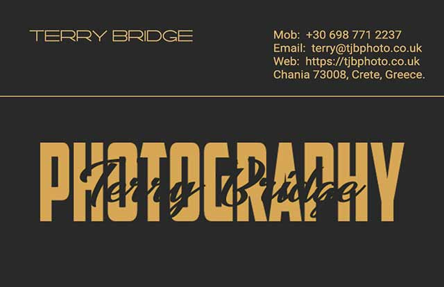 Terry Bridge Photography business card