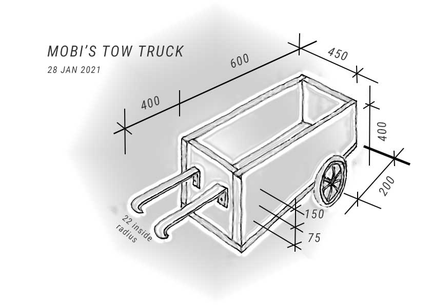 sketch of the wheelchair tow truck